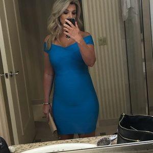 Blue Off the Shoulder Bandage Dress